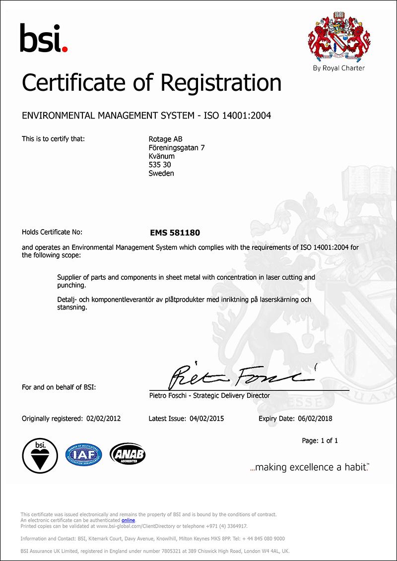 Kvalitet och miljö –ISO 14001